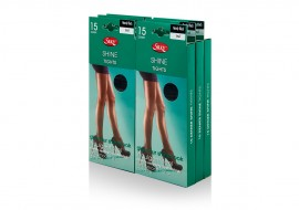 PACK OF 6 SILKY 15 DENIER SHINE TIGHTS IN NEARLY BLACK: SIZE SMALL AND EXTRA LARGE