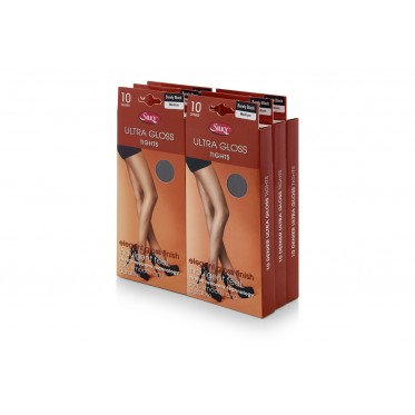 PACK OF 6 SILKY ULTRA GLOSS 10 DENIER TIGHTS IN BARELY BLACK: SIZE MEDIUM.