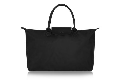 W3-2 UNISEX SHORT HANDLE ALL BLACK NYLON TOTE BAG WITH BACK STRAP COMPARTMENT TO FIT OVER SUITCASE HANDLE