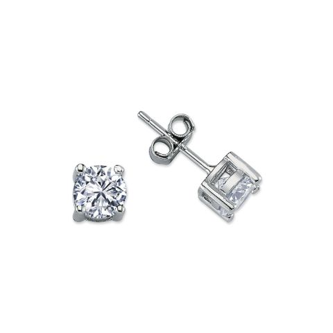 6mm Silver 4 Claw Round Cubic Zirconia Stud