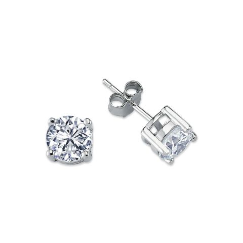 7mm Silver 4 Claw Round Cubic Zirconia Stud