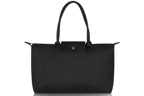 W3-1 LONG HANDLE BLACK NYLON TOTE BAG WITH BACK STRAP COMPARTMENT TO FIT OVER SUITCASE HANDLE