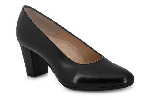 AEROBICS BARCELONA BLACK POLISHED:  LEATHER UPPER LEATHER LINED RUBBER SOLE.