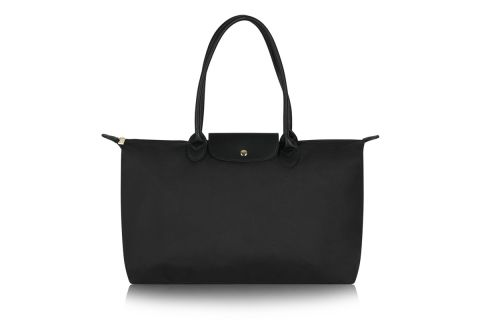 W3-1 LONG HANDLE BLACK NYLON TOTE BAG