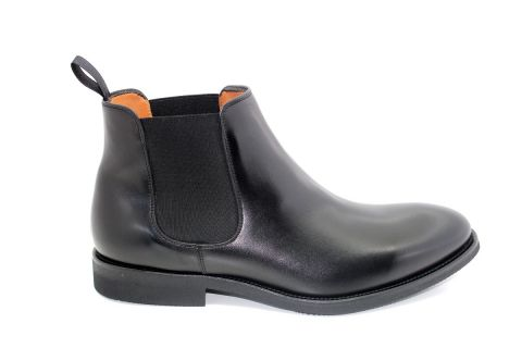 5442 BLACK LEATHER PLAIN CHELSEA BOOT: LEATHER UPPER, LEATHER LINED RUBBER SOLE
