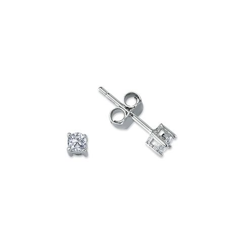 3mm Silver 4 Claw Round Cubic Zirconia Stud