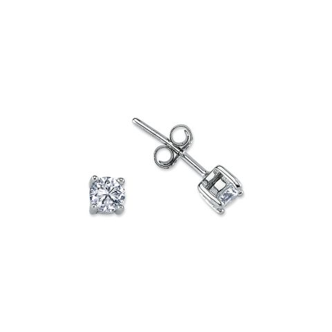 4mm Silver 4 Claw Round Cubic Zirconia Stud