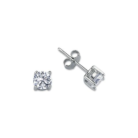 5mm Silver 4 Claw Round Cubic Zirconia Stud
