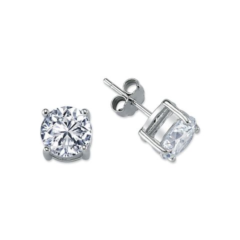 8mm Silver 4 Claw Round Cubic Zirconia Stud
