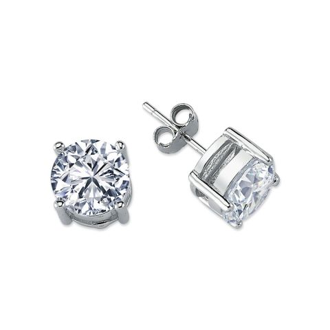 9mm Silver 4 Claw Round Cubic Zirconia Stud