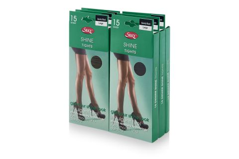 PACK OF 6 SILKY 15 DENIER SHINE TIGHTS: LARGE