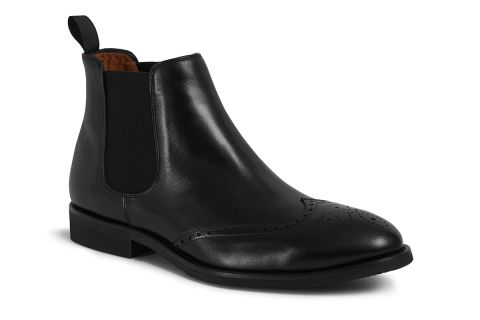 5443 BLACK LEATHER BROGUE BOOT: LEATHER UPPER, LEATHER LINED RUBBER SOLE