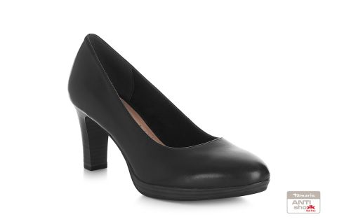 TAMARIS 22410 BLACK LEATHER PLATFORM SHOE
